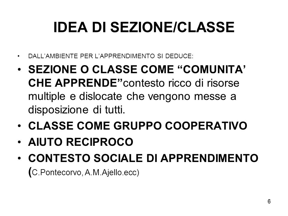 IDEA DI SEZIONE/CLASSE