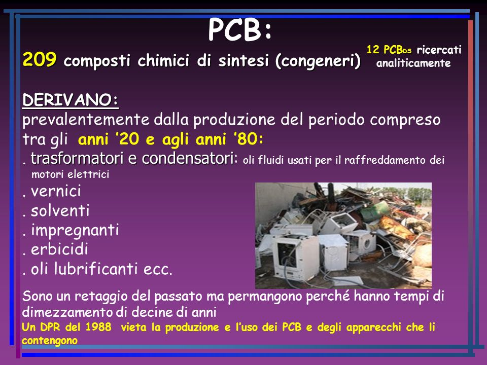 12 PCBDS ricercati analiticamente
