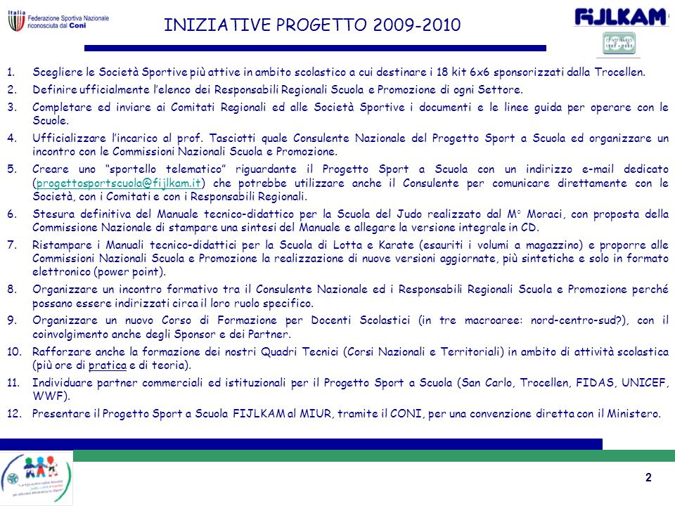 INIZIATIVE PROGETTO 2009-2010