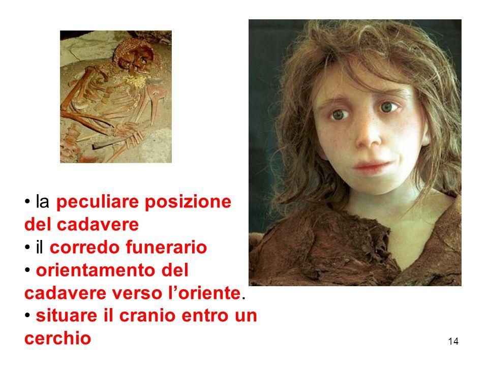 la peculiare posizione del cadavere il corredo funerario