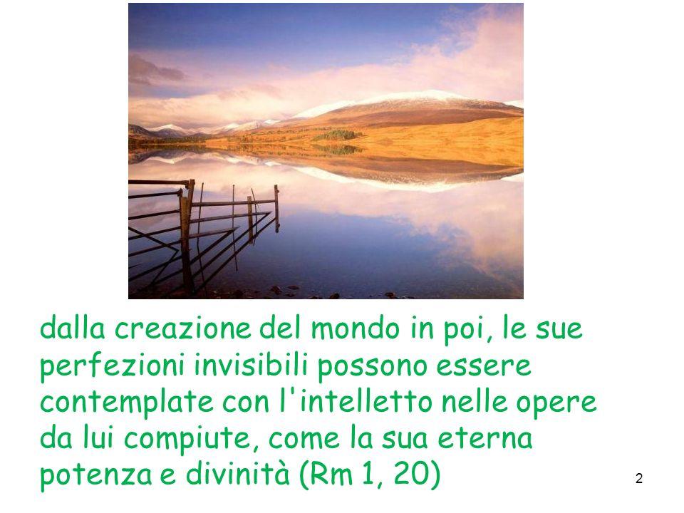 dalla creazione del mondo in poi, le sue perfezioni invisibili possono essere contemplate con l intelletto nelle opere da lui compiute, come la sua eterna potenza e divinità (Rm 1, 20)
