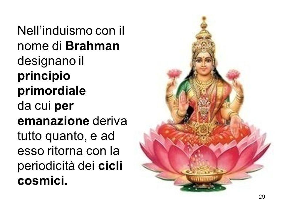 Nell'induismo con il nome di Brahman designano il principio primordiale