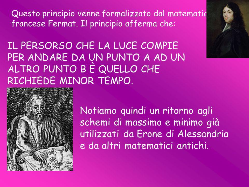Questo principio venne formalizzato dal matematico francese Fermat