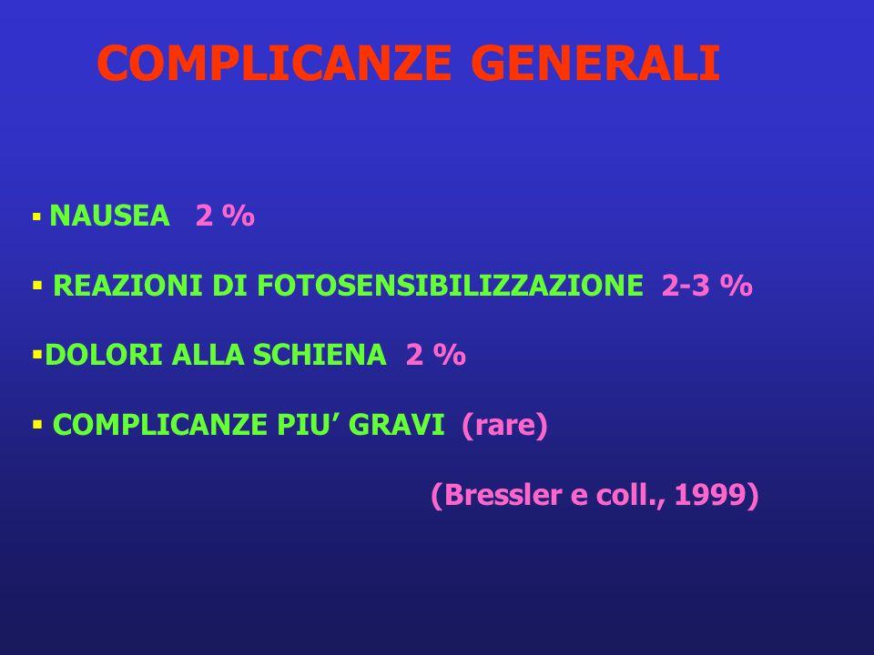 COMPLICANZE GENERALI REAZIONI DI FOTOSENSIBILIZZAZIONE 2-3 %
