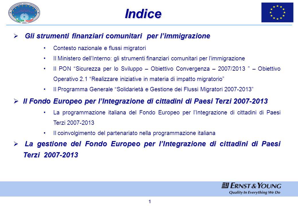 Indice Gli strumenti finanziari comunitari per l'immigrazione. Contesto nazionale e flussi migratori.