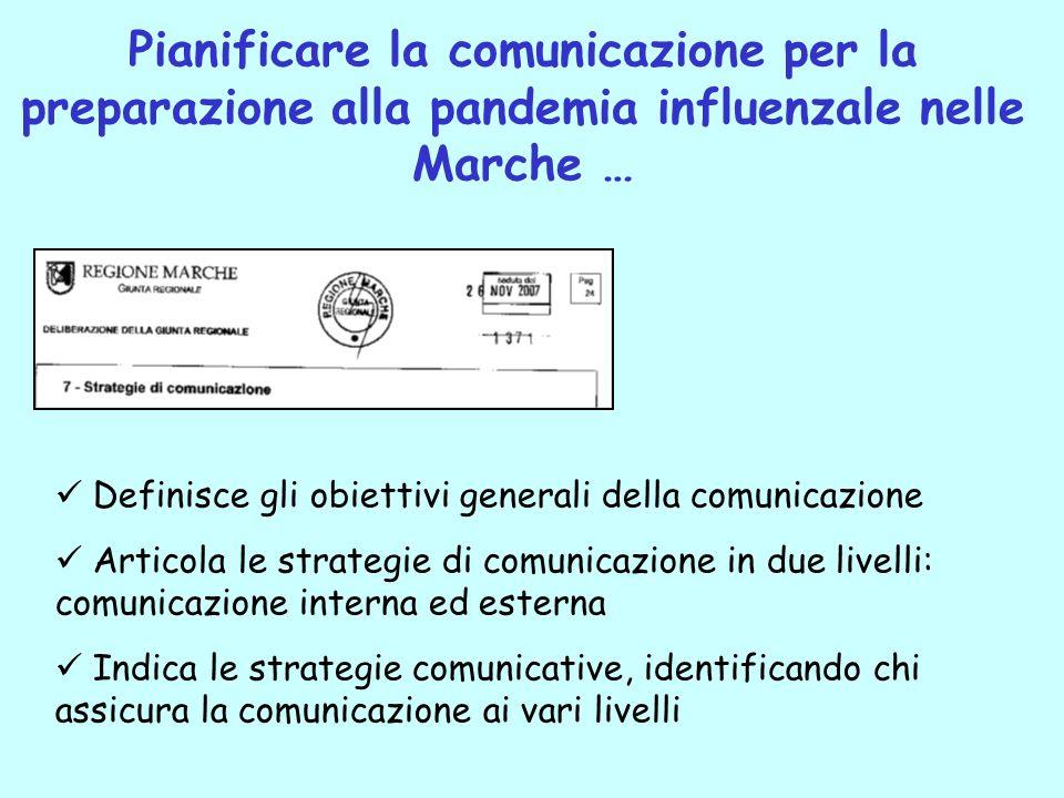 Pianificare la comunicazione per la preparazione alla pandemia influenzale nelle Marche …