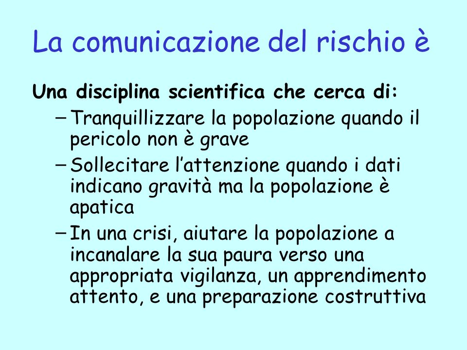 La comunicazione del rischio è