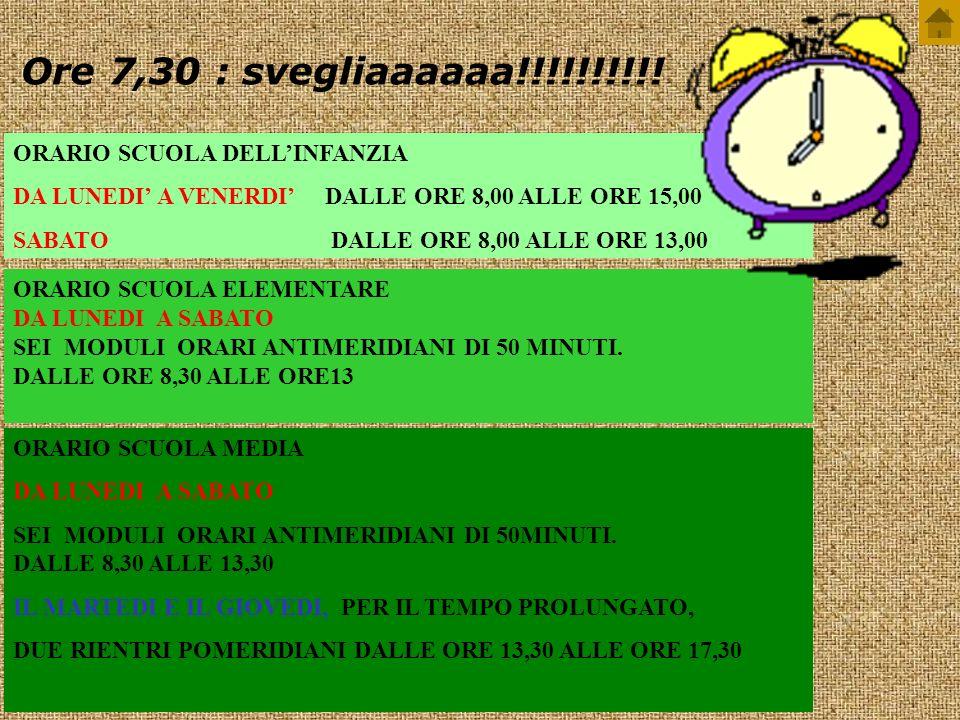 Ore 7,30 : svegliaaaaaa!!!!!!!!!! ORARIO SCUOLA DELL'INFANZIA