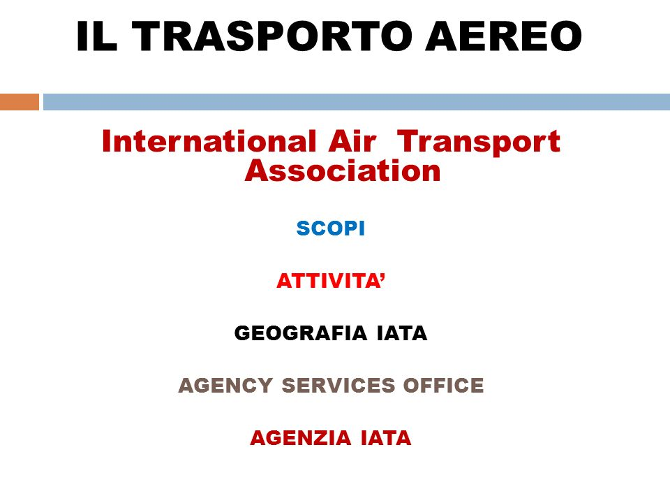 IL TRASPORTO AEREO International Air Transport Association SCOPI
