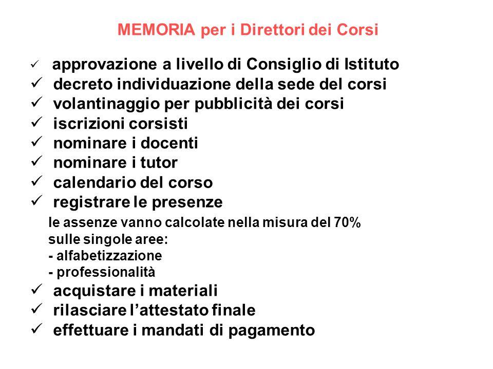 MEMORIA per i Direttori dei Corsi