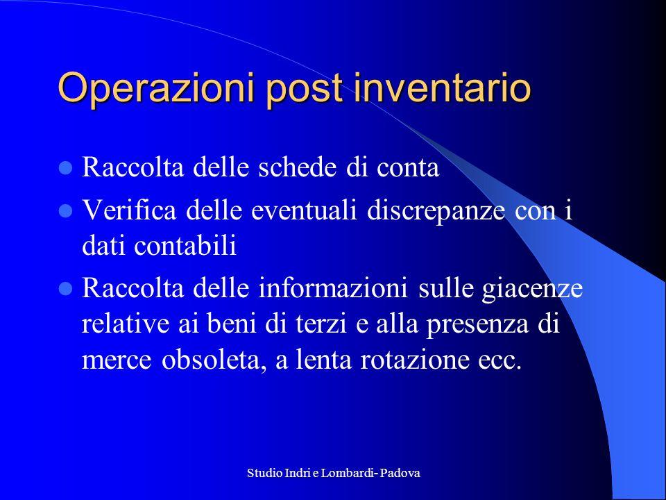Operazioni post inventario