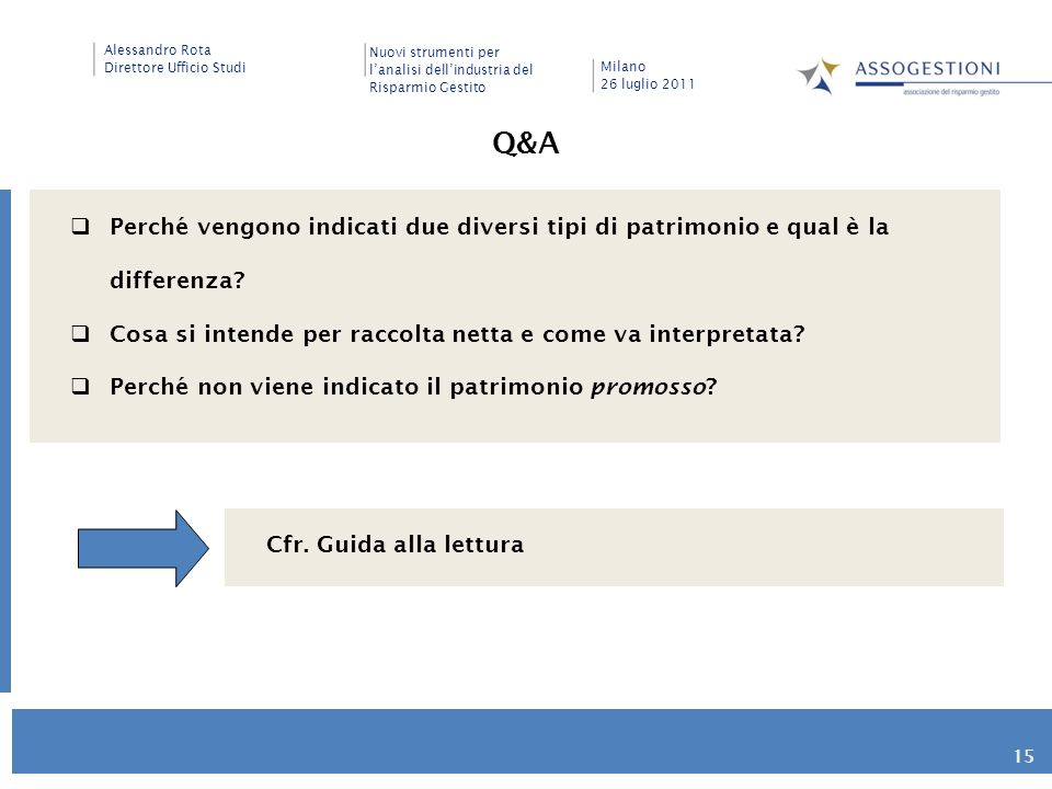 Q&A Perché vengono indicati due diversi tipi di patrimonio e qual è la differenza Cosa si intende per raccolta netta e come va interpretata