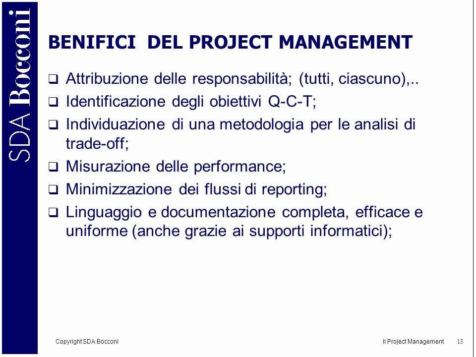 BENIFICI DEL PROJECT MANAGEMENT