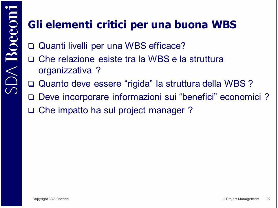 Gli elementi critici per una buona WBS
