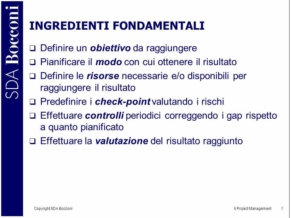 INGREDIENTI FONDAMENTALI