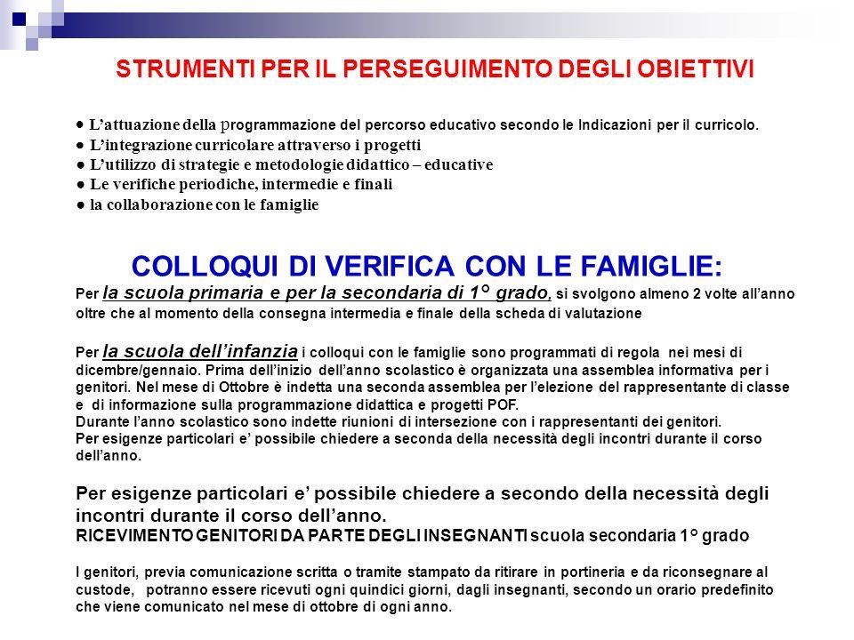 COLLOQUI DI VERIFICA CON LE FAMIGLIE: