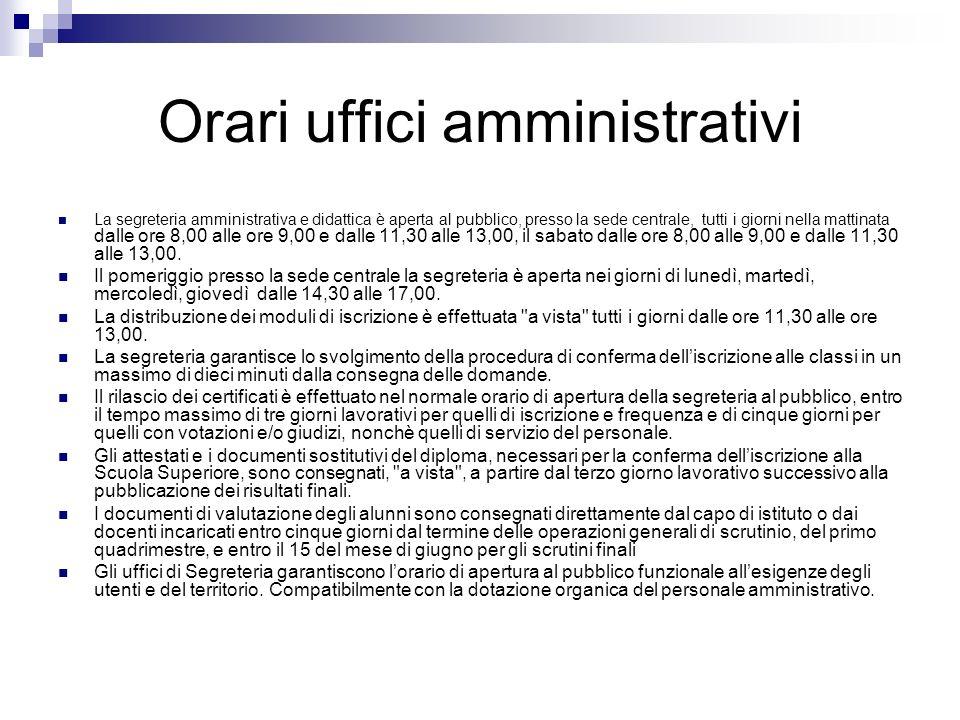 Orari uffici amministrativi