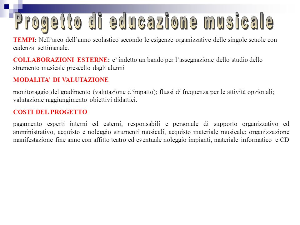 Progetto di educazione musicale