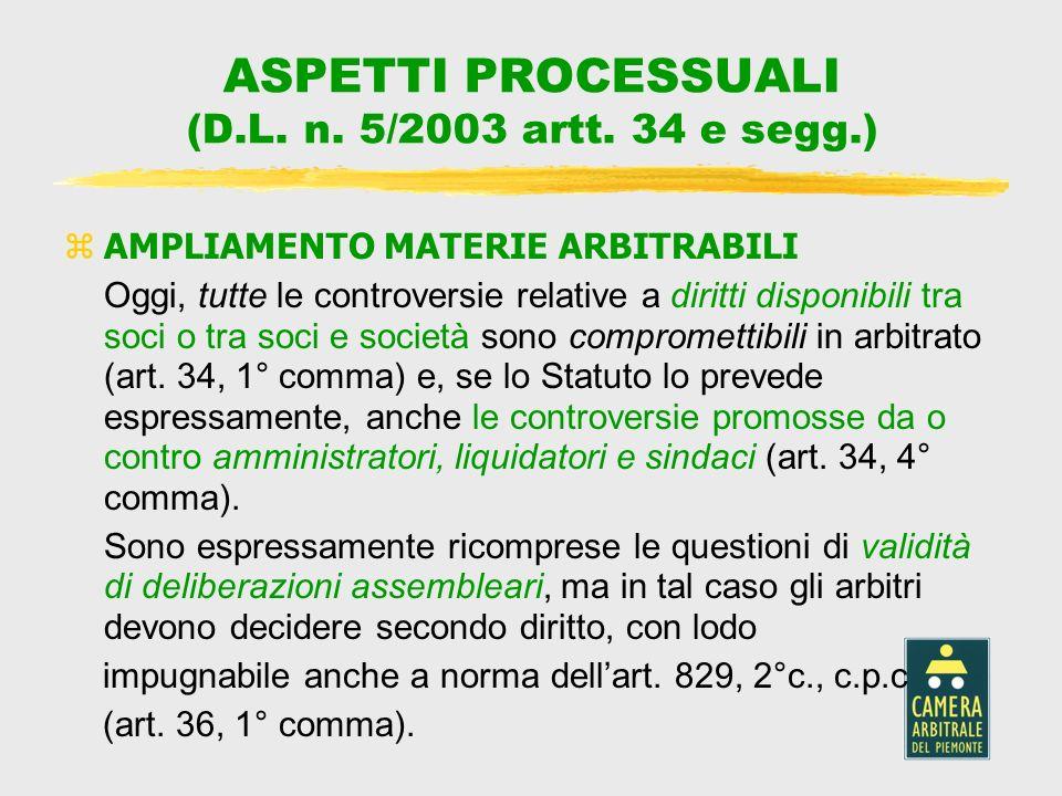 ASPETTI PROCESSUALI (D.L. n. 5/2003 artt. 34 e segg.)