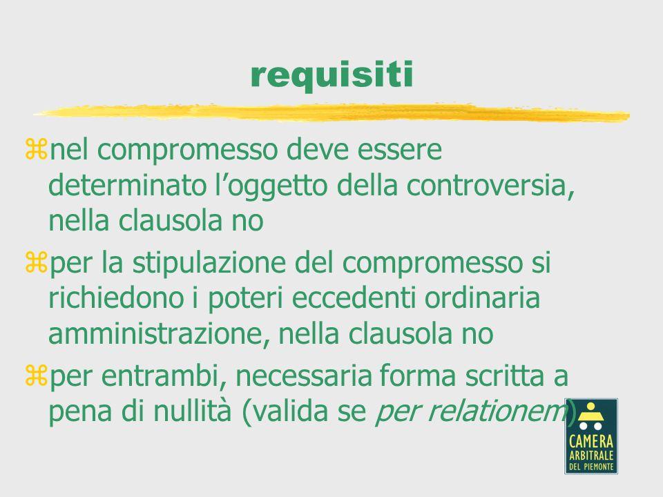requisiti nel compromesso deve essere determinato l'oggetto della controversia, nella clausola no.