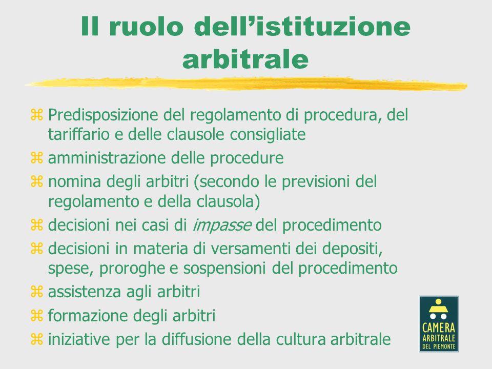 Il ruolo dell'istituzione arbitrale