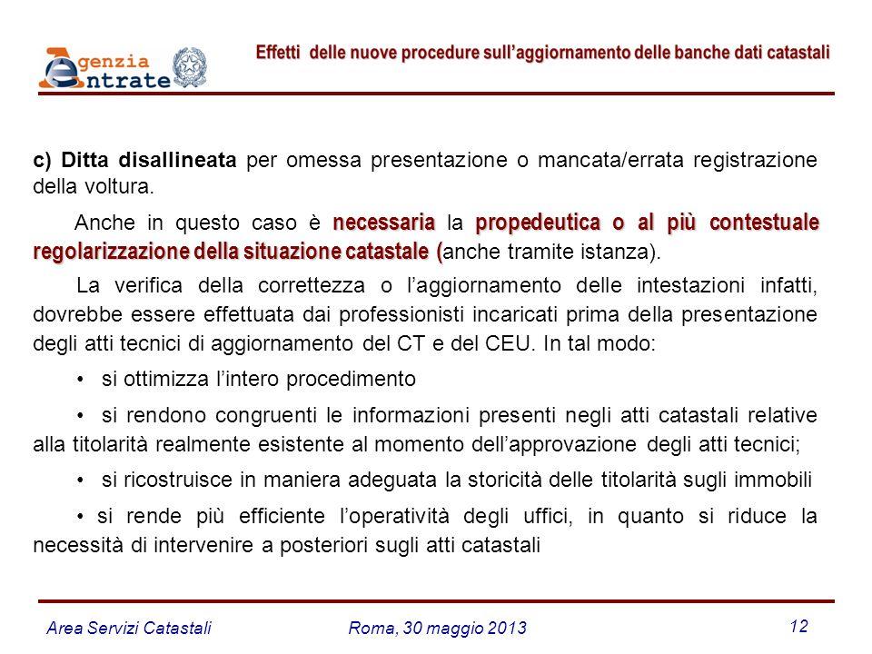 c) Ditta disallineata per omessa presentazione o mancata/errata registrazione della voltura.