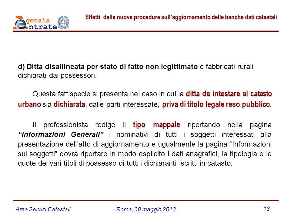 d) Ditta disallineata per stato di fatto non legittimato e fabbricati rurali dichiarati dai possessori.