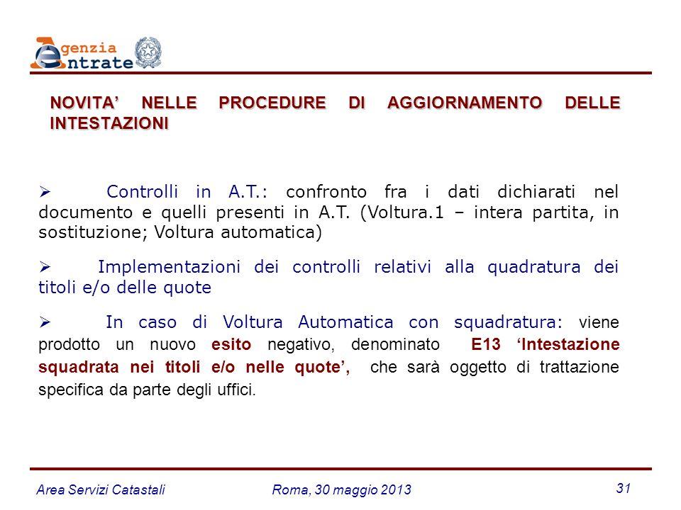 NOVITA' NELLE PROCEDURE DI AGGIORNAMENTO DELLE INTESTAZIONI