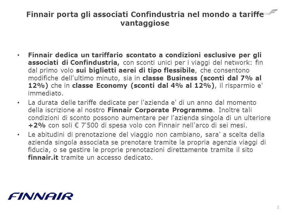 Finnair porta gli associati Confindustria nel mondo a tariffe vantaggiose