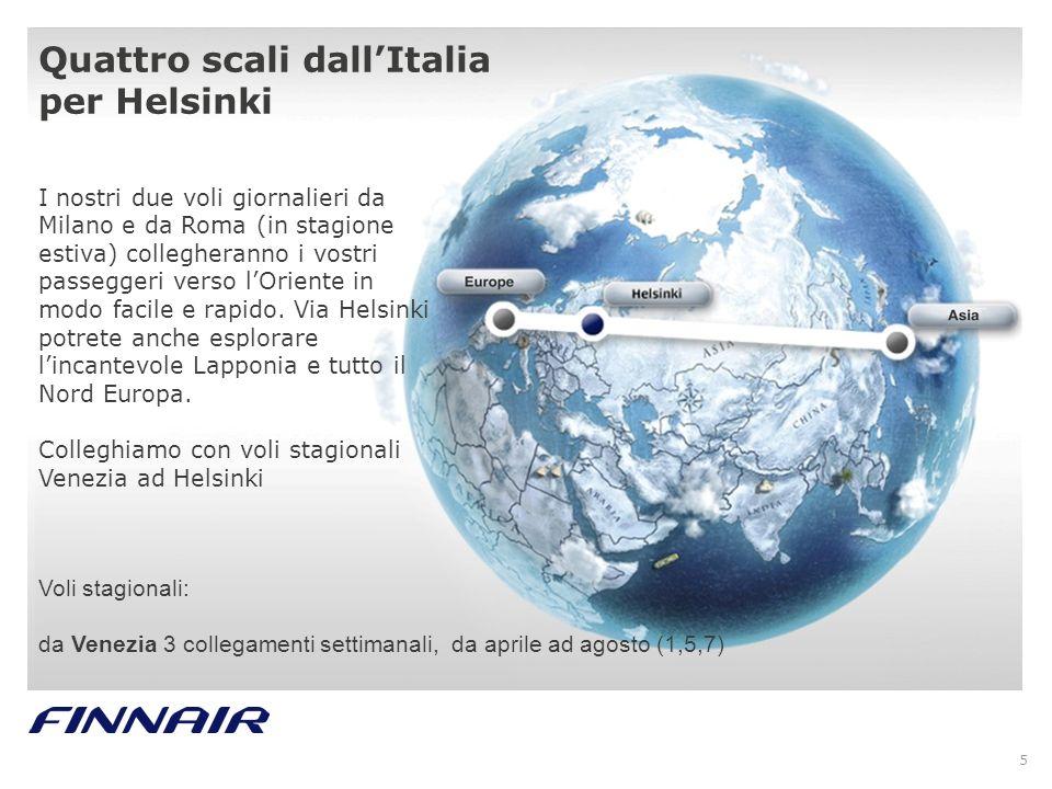 Quattro scali dall'Italia per Helsinki