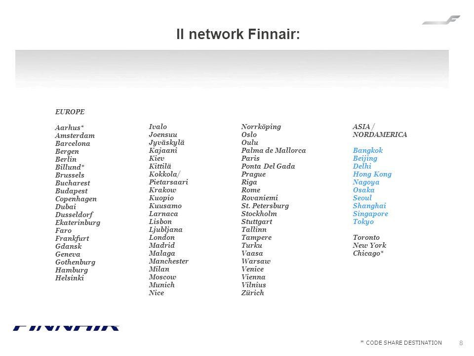 Il network Finnair: EUROPE Aarhus* Amsterdam Barcelona Bergen Berlin