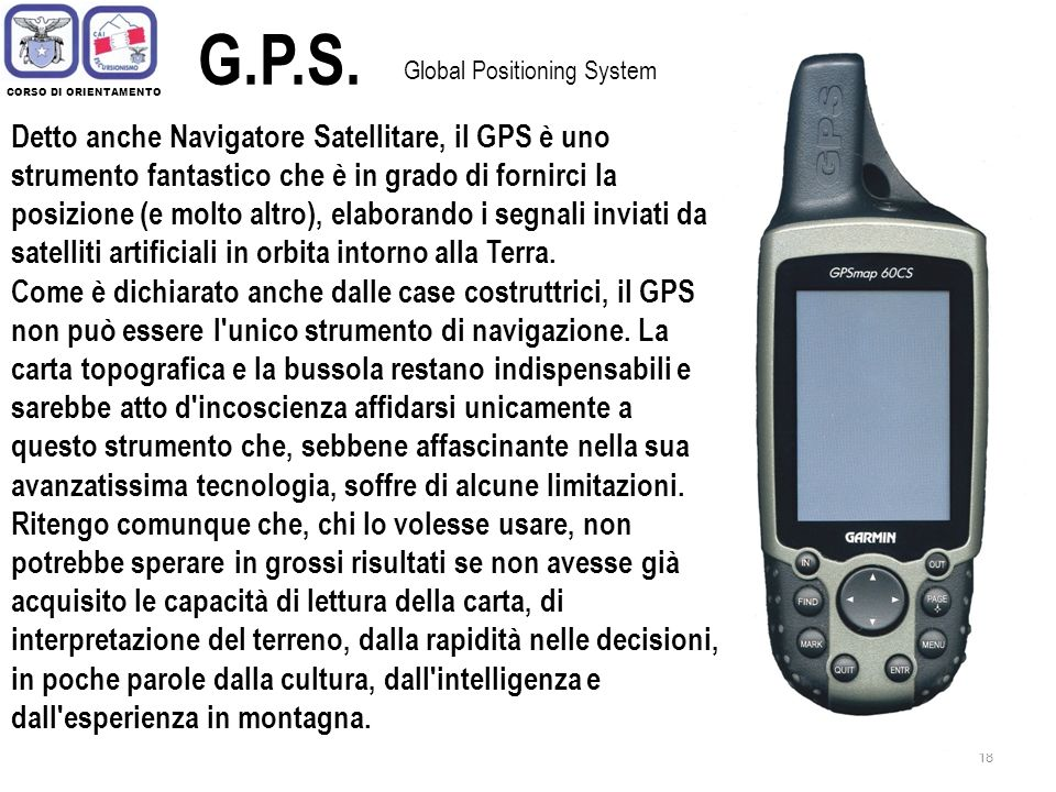 G.P.S. Global Positioning System. CORSO DI ORIENTAMENTO.