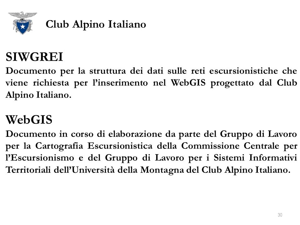 SIWGREI WebGIS Club Alpino Italiano