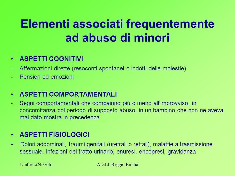 Elementi associati frequentemente ad abuso di minori