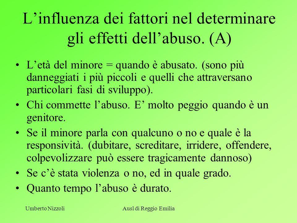 L'influenza dei fattori nel determinare gli effetti dell'abuso. (A)