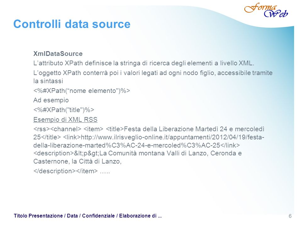 Controlli data source XmlDataSource