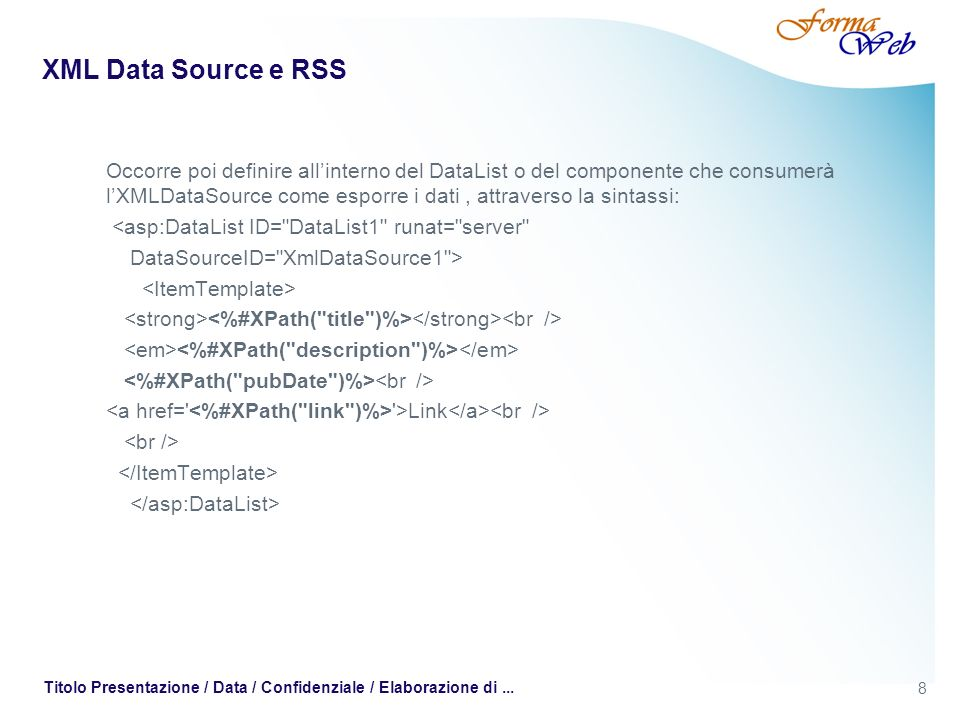 XML Data Source e RSS