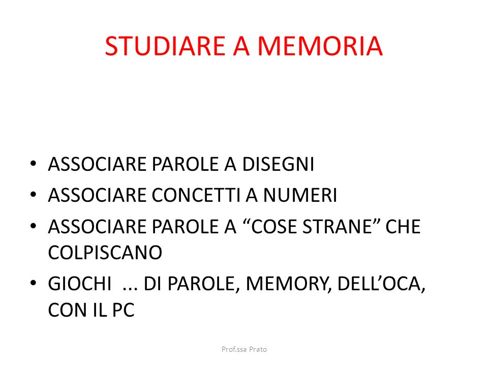 STUDIARE A MEMORIA ASSOCIARE PAROLE A DISEGNI