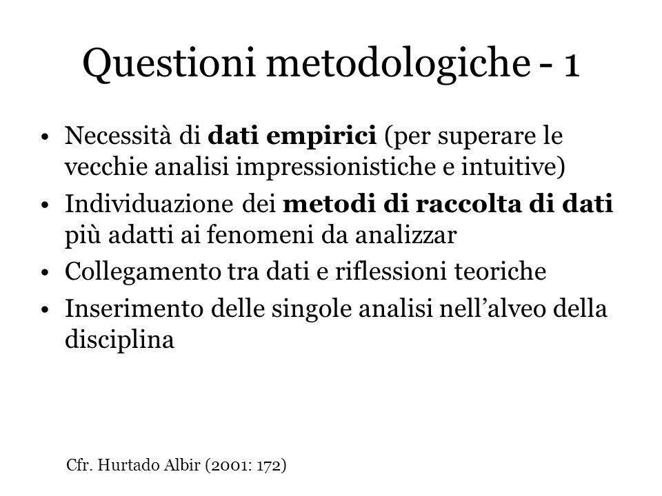 Questioni metodologiche - 1