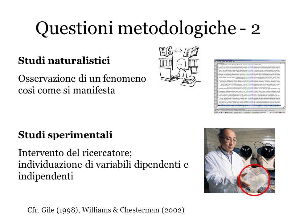 Questioni metodologiche - 2