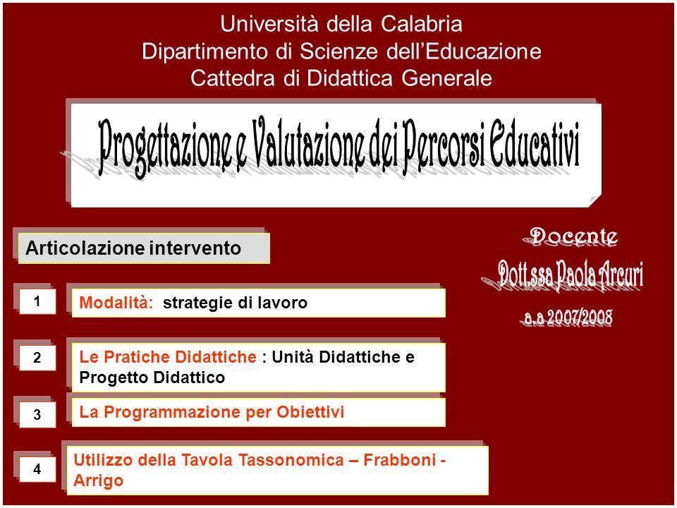 Progettazione e Valutazione dei Percorsi Educativi