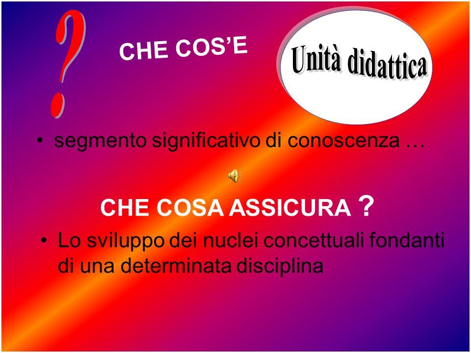 CHE COS'E Unità didattica CHE COSA ASSICURA