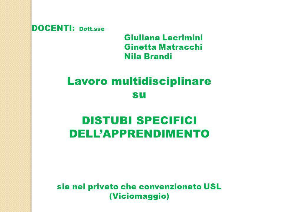 Lavoro multidisciplinare su DISTUBI SPECIFICI DELL'APPRENDIMENTO