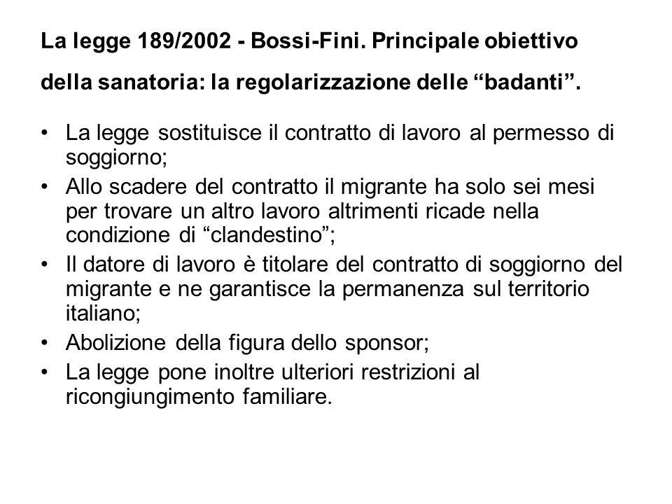 La legge 189/2002 - Bossi-Fini. Principale obiettivo della sanatoria: la regolarizzazione delle badanti .