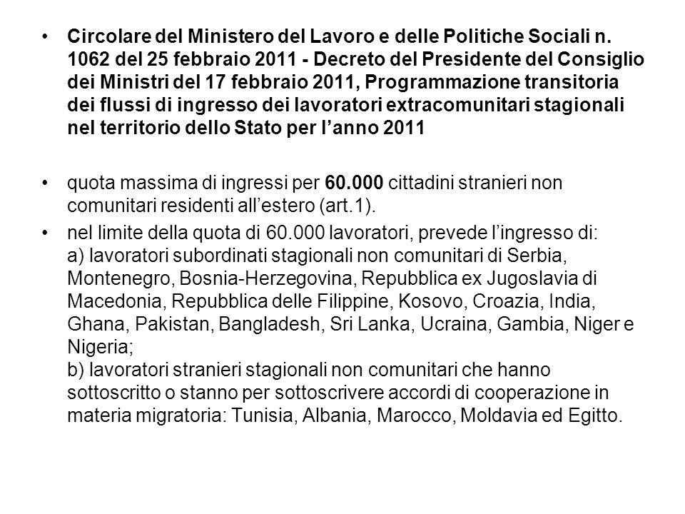 Circolare del Ministero del Lavoro e delle Politiche Sociali n