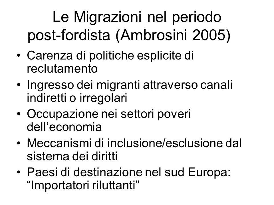 Le Migrazioni nel periodo post-fordista (Ambrosini 2005)