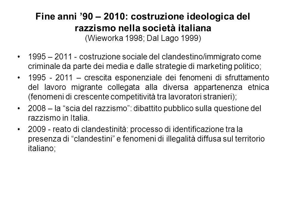 Fine anni '90 – 2010: costruzione ideologica del razzismo nella società italiana (Wieworka 1998; Dal Lago 1999)