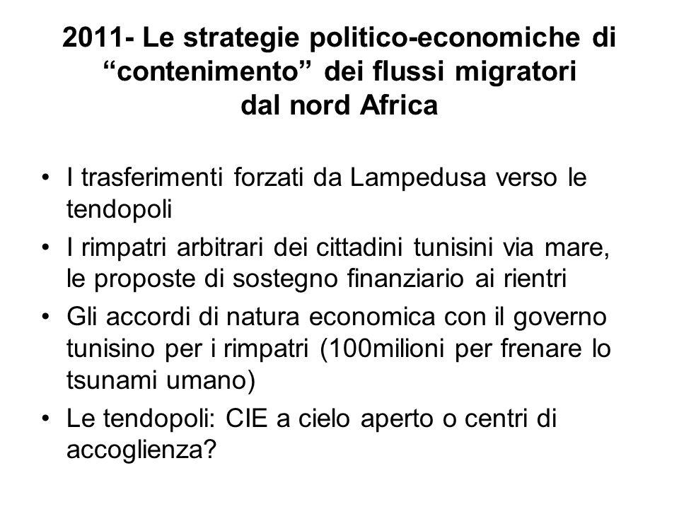 2011- Le strategie politico-economiche di contenimento dei flussi migratori dal nord Africa