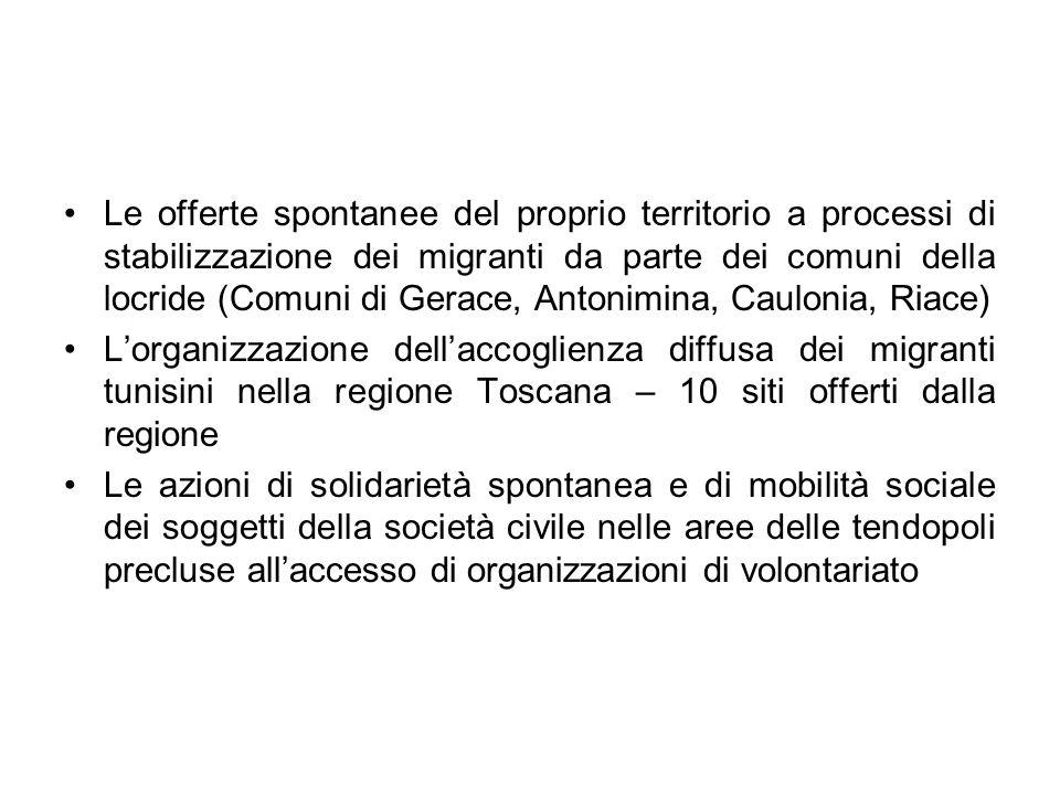 Le offerte spontanee del proprio territorio a processi di stabilizzazione dei migranti da parte dei comuni della locride (Comuni di Gerace, Antonimina, Caulonia, Riace)