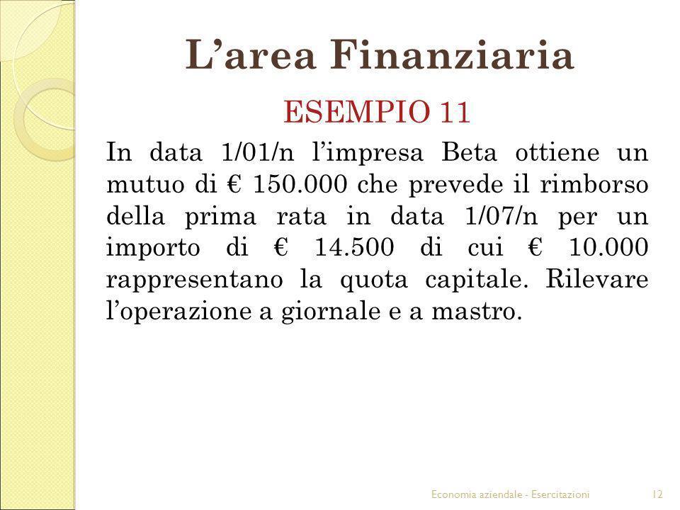 L'area Finanziaria ESEMPIO 11
